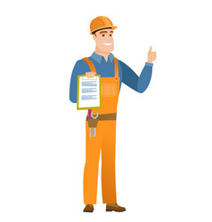 builder with clipboard giving thumb up vector image