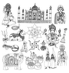 India sketch set vector image vector image