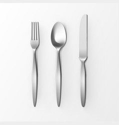 set of silver fork spoon knife table setting vector image