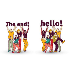 The end and hello sign team group business people vector