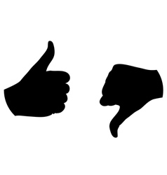 thumb up thumb down silhouette vector image vector image