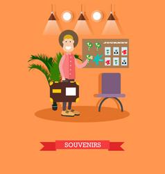 tourist at souvenir shop in vector image vector image