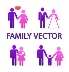 colorful happy family icons vector image vector image
