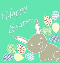 happy easter card with rabbit and eggs vector image vector image