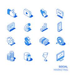 isometric social marketing icons set vector image