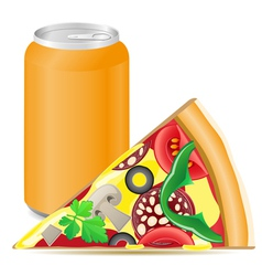 pizza and aluminum cans with soda vector image vector image