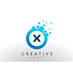 x letter logo blue dots bubble design vector image vector image