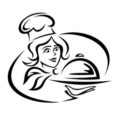 Young waitress with food tray vector image vector image