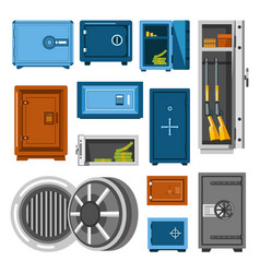 armored metal safes full of money and guns vector image vector image