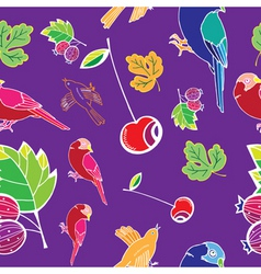 bird and fruits pattern vector image
