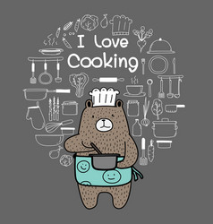 Doodle bear chef is cooking vector