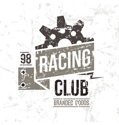Emblem racing club in retro style vector image