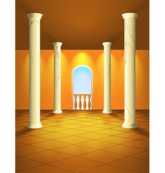 Hall with columns and balcony vector image