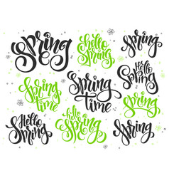 Hand lettering hello spring text set vector