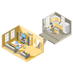isometric design of a living room and vector image