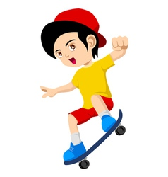 Kid Playing Skateboard vector image vector image