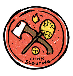 scouting club emblem with crossed ax and nettle vector image