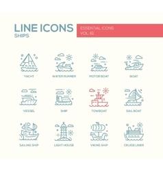 Ships - line design icons set vector image