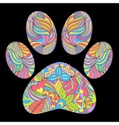 animal paw print on black background vector image