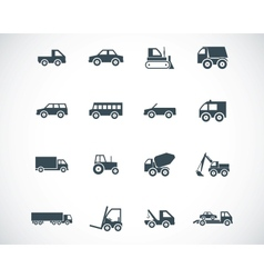 black vehicle icons set vector image