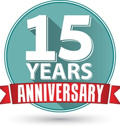 Flat design 15 years anniversary label with red vector image