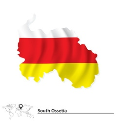 Map of South Ossetia with flag vector image vector image