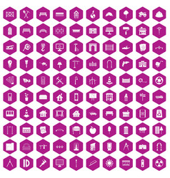 100 architecture icons hexagon violet vector image