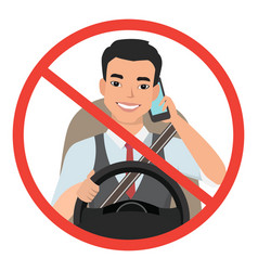 Asian man driving a car talking on the phone sign vector