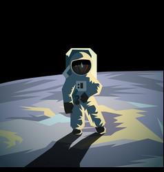 Astronaut on moon surface vector