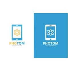 atom and phone logo combination molecule vector image