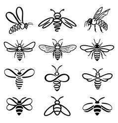 Bee black and white icons vector