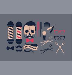 big set barber shop supplies vector image