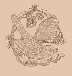 Birds and rowan color vector