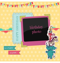 Birthday Card with Photo Frame vector