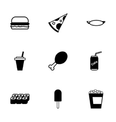 black fastfood icon set vector image vector image