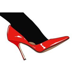 Black stockings and red shoes vector image