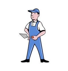 Brick layer mason plasterer worker standing vector image
