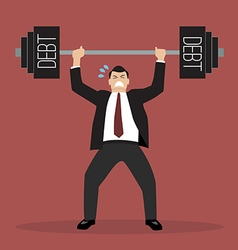 businessman lifting a heavy weight debt vector image