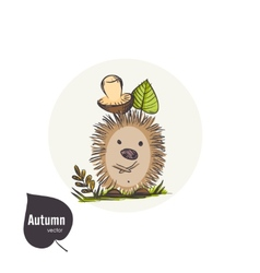Cartoon Hedgehog With Mushroom vector