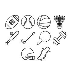 Cartoon sport stuff icon set vector