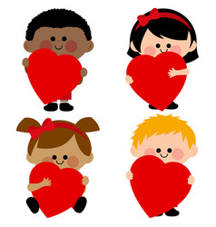 Children holding red hearts vector