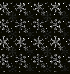 christmas seamless pattern with snowflakes black vector image