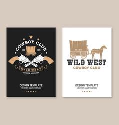 cowboy club poster flyer wild west vector image