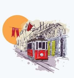 digital nostalgic red tram in istiklal vector image