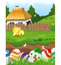 Easter rural landscape vector