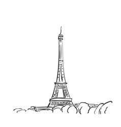 eiffel tower sketch simple hand drawn isolated vector image