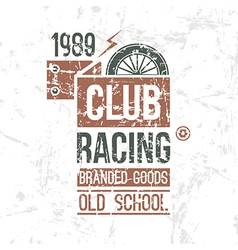 Emblem racing club old school vector image