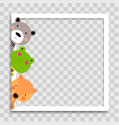 Empty photo frame with cute animal frog bear and vector