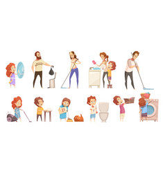 Family cleaning cartoon icons set vector