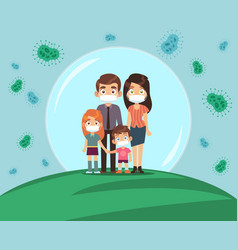 family protected from virus mom dad and vector image